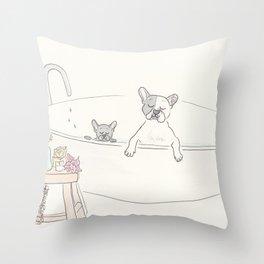 French Bulldogs Bath Time Throw Pillow