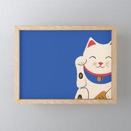 Blue Lucky Cat Maneki Neko Framed Mini Art Print