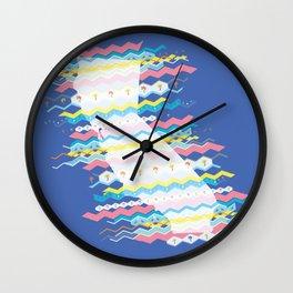 California Zigs & Zags: 8-Bit Party Pattern Wall Clock