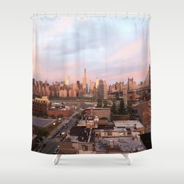 Manhattan City Skyline from Queens at Sunrise Shower Curtain