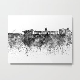 Dublin skyline in black watercolor Metal Print