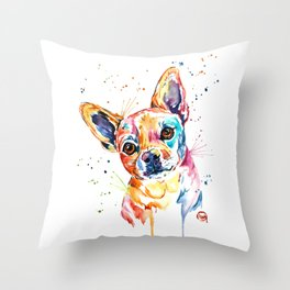 Chihuahua - Tucker - Colorful Watercolor Pet Portrait Painting Throw Pillow
