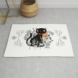 Kitty Kitty Sitting Pretty With Flowers All Around Rug