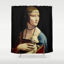 """Leonardo Da Vinci """"Portrait of Cecilia Gallerani (Lady with the Ermine)"""" Shower Curtain"""