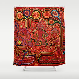 Kuna Indian Men in Canoes Shower Curtain