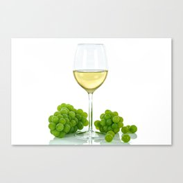 white wine and grapes Canvas Print