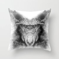 sasquatch Throw Pillows featuring Sasquatch by Zandonai