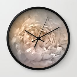 Blushing Silver and Gold Peony - Floral Wall Clock