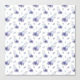 Lilac purple teal watercolor elegant  leaves daisies Canvas Print