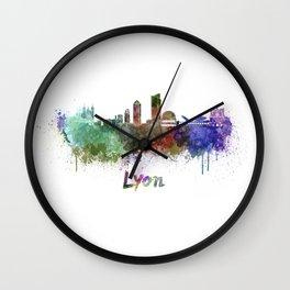Lyon skyline in watercolor Wall Clock