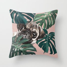Pug with Monstera Leaf Throw Pillow