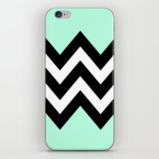 DOUBLE COLORBLOCK CHEVRON {MINT/BLACK} iPhone & iPod Skin