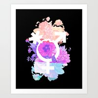 Floral Pronouns Art Print