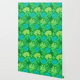 William Morris Chrysanthemums, Lime Green & Aqua Wallpaper