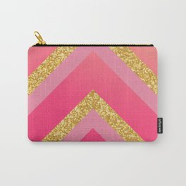 Pink, Rosé, Coral, Gold Triangles - Ombré Watercolor Carry-All Pouch