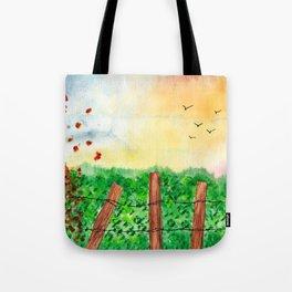 Sunset Landscape Watercolor Tote Bag