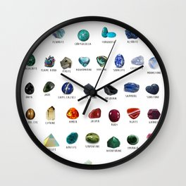 Crystals and their names Wall Clock