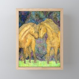 Two horses. Painting with watercolors and ink. Framed Mini Art Print