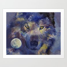 Grey Wolf Moon Art Print
