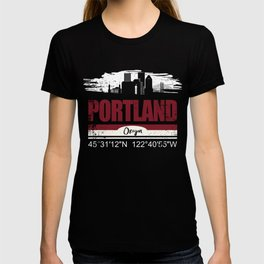 Portland Oregon Cool City shirt With GPS Coordinates T-shirt