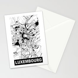 Luxembourg, Luxembourg, city map, Black & White Stationery Cards