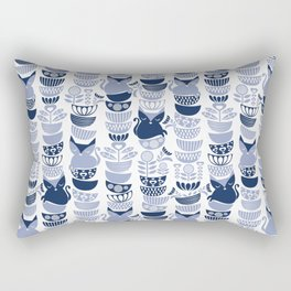 Swedish folk cats III // white background pale and navy blue kitties & bowls Rectangular Pillow