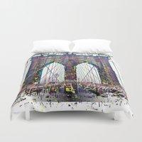 brooklyn bridge Duvet Covers featuring brooklyn bridge by Vector Art