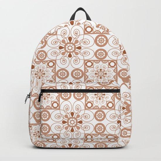 Beige white ornament . Backpack
