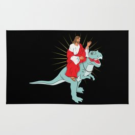 Jesus Riding A Dinosaurs Rex Gift Rug
