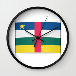 Flag of Central African Republic. The slit in the paper with shadows. Wall Clock