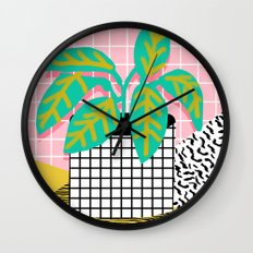 Get Real - potted plant throwback retro neon 1980s style art print minimal abstract grid lines shape Wall Clock