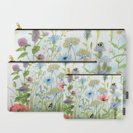 Floral Watercolor Botanical Cottage Garden Flowers Bees Nature Art Carry-All Pouch