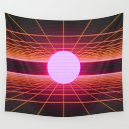 Retro 80s Grid 'Into the Void' Wall Tapestry