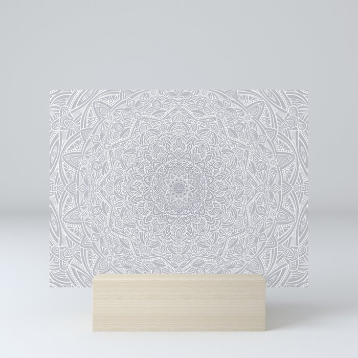 Most Detailed Mandala! Cool Gray White Color Intricate Detail Ethnic Mandalas Zentangle Maze Pattern Mini Art Print