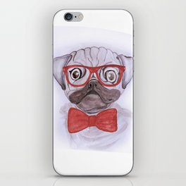 Cute funny watercolor pug with red glasses and bow hand paint iPhone Skin