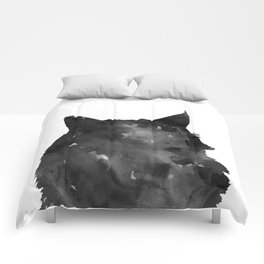 Watercolor Black Cat Comforters