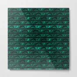Forest green abstract geometrical floral stripes pattern Metal Print