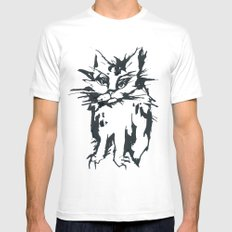 Angry Cat Mens Fitted Tee MEDIUM White