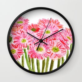 Pink Gerbera Daisy watercolor Wall Clock