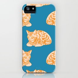 Seated Ginger Cat Pattern iPhone Case