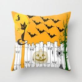 Black Cat on a Spooky Fence - Halloween Throw Pillow