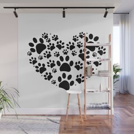 Dog paw print made of heart black Wall Mural