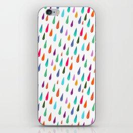 Modern rainbow colors watercolor rain drops pattern iPhone Skin