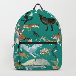 Wolves of the World Green pattern Backpack