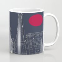 blueprint Mugs featuring Paris Blueprint by ralexandertrejo