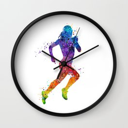Girl Running 2 Colorful Watercolor Sports Art Wall Clock