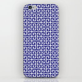 Navy and White Greek Key Pattern iPhone Skin