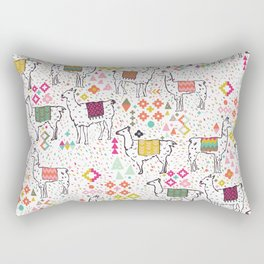 Pink & Inca Llamas Rectangular Pillow