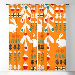 Sweet Christmas bunnies Blackout Curtain