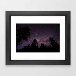 Busy Sky - Shooting Stars, Planes and Satellites in Colorado Night Sky Framed Art Print
